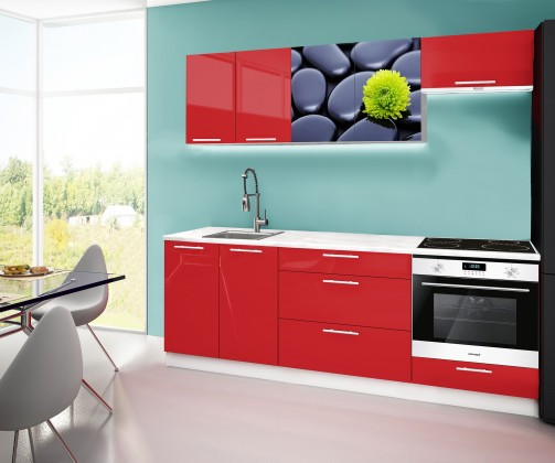 Rovná Emilia 2 - Kuchyňský blok A, 220cm (červená, mramor, kameny)