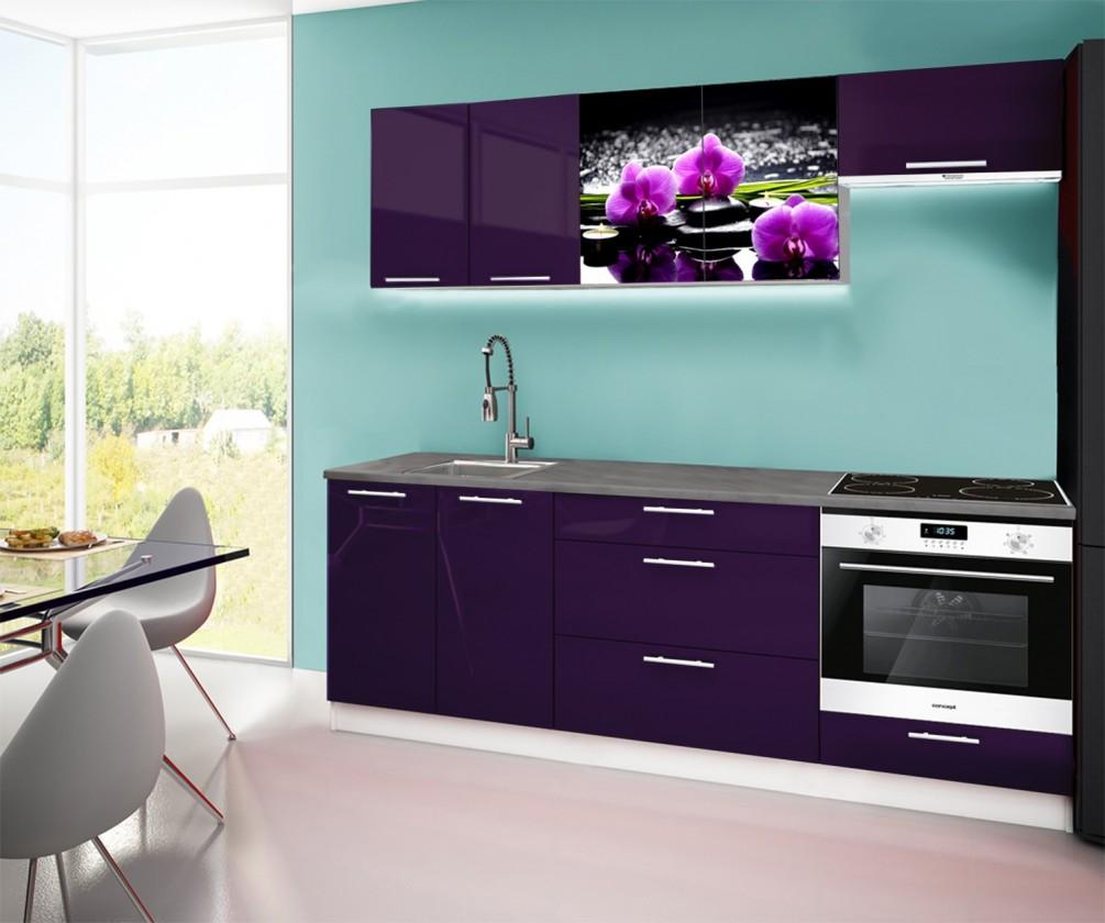 Rovná Emilia 2 - Kuchyňský blok A, 220cm (fialová, titan, orchidej)