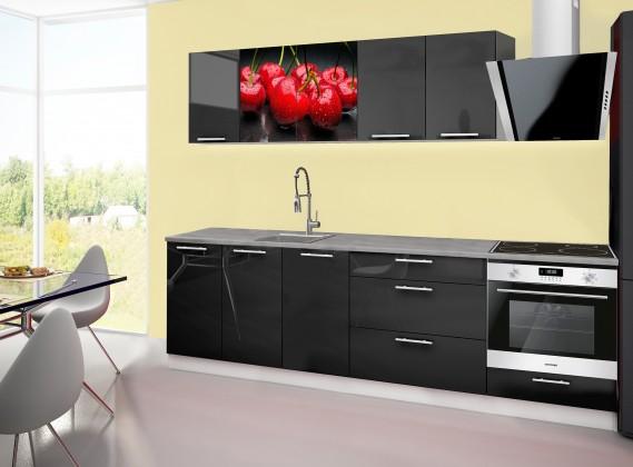 Rovná Emilia 2 - kuchyňský blok A 260 cm (černá, pracovní deska - titan)