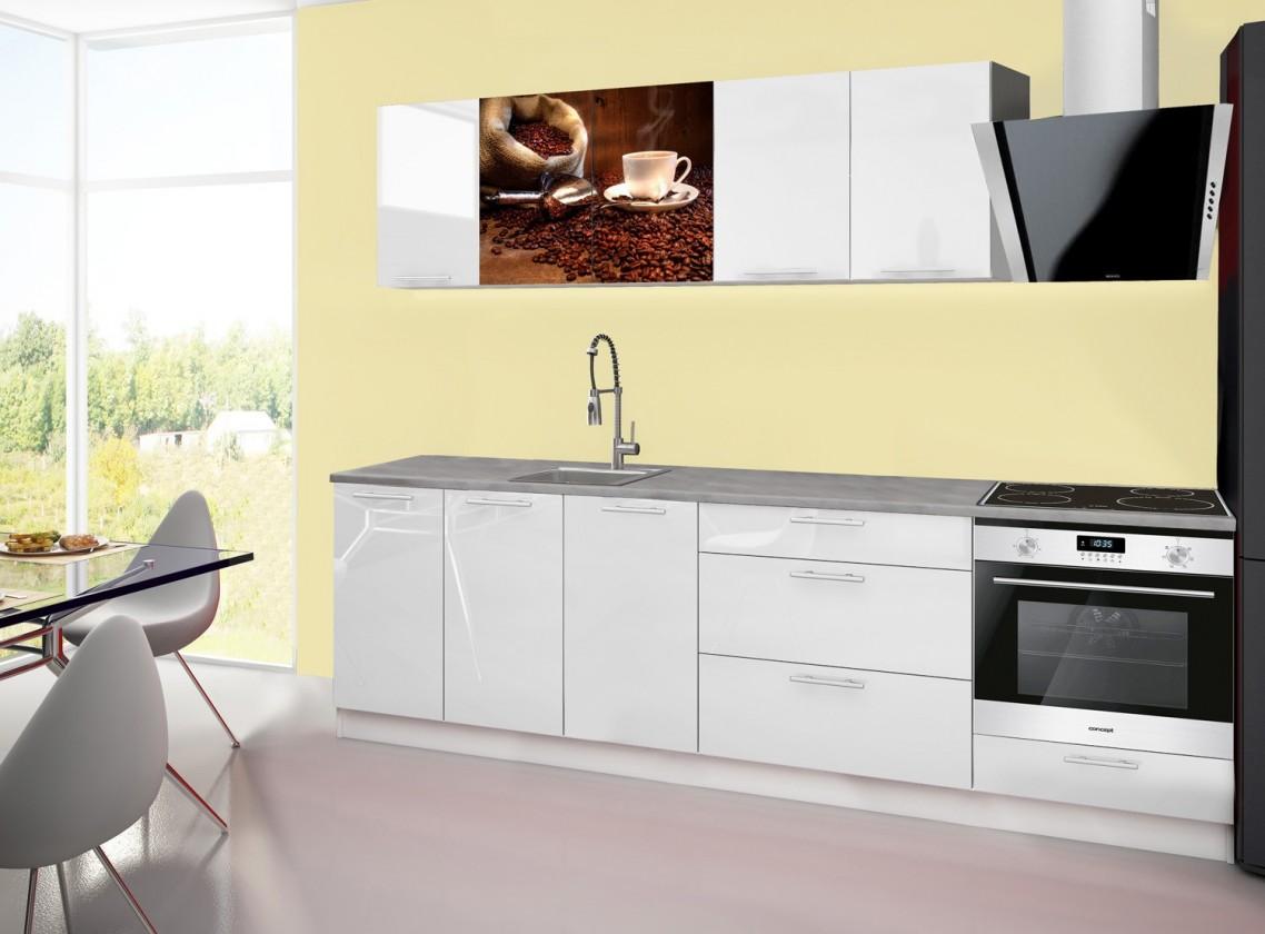 Rovná Emilia 2 - Kuchyňský blok A, 260cm (bílá, titan, káva)