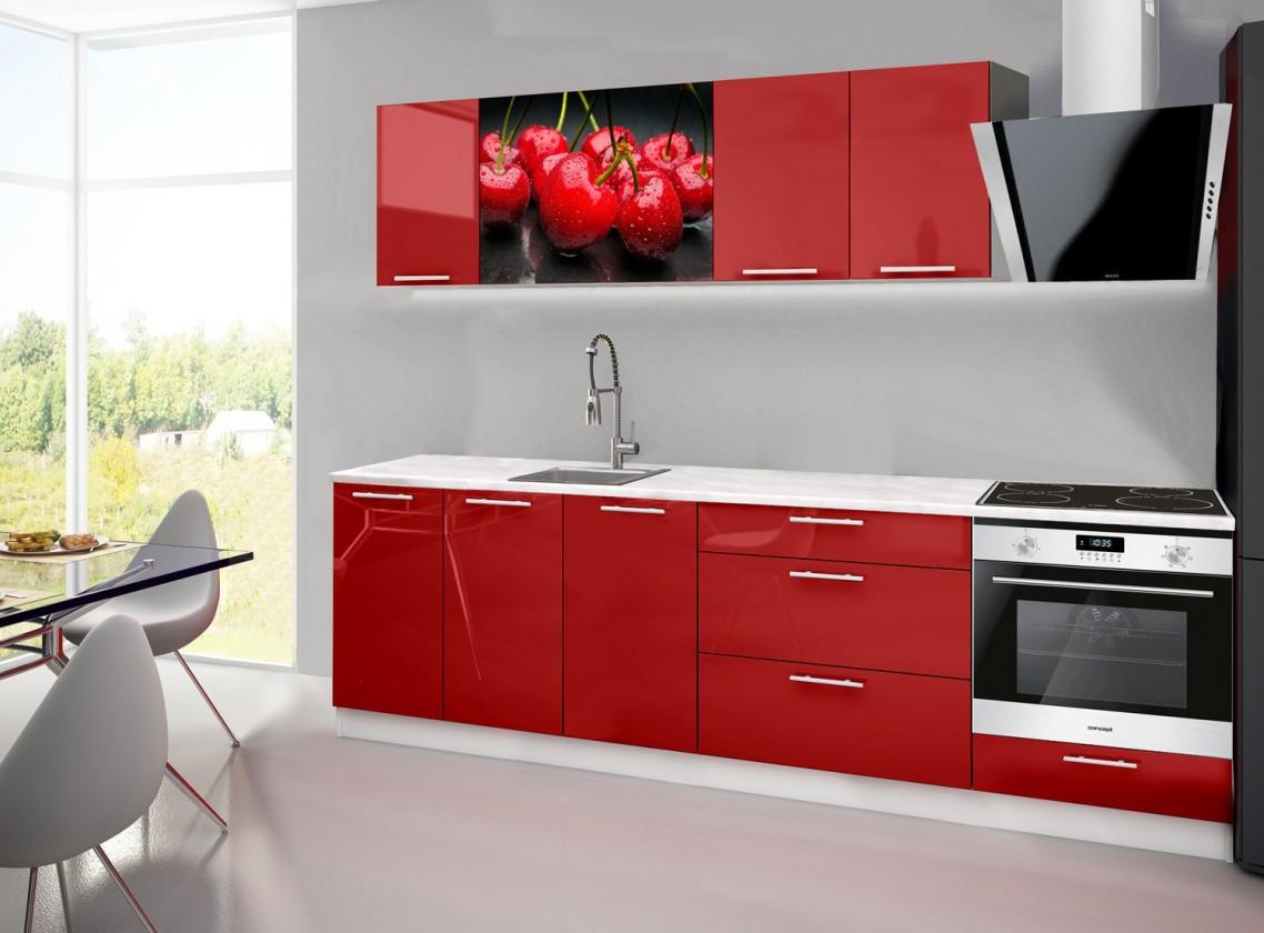 Rovná Emilia 2 - Kuchyňský blok A, 260cm (červená, mramor, třešně)