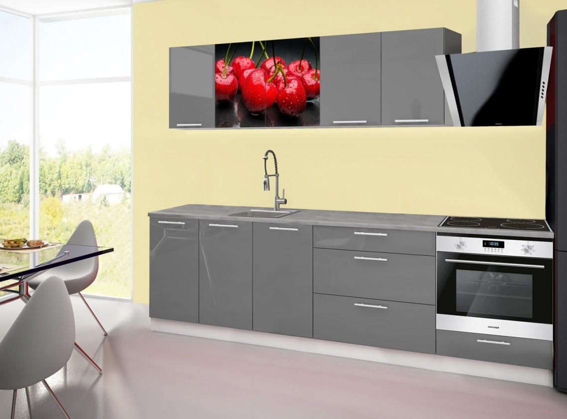 Rovná Emilia 2 - Kuchyňský blok A, 260cm (šedá, titan, třešně)