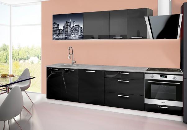 Rovná Emilia 2 - kuchyňský blok B 280 cm (černá, pracovní deska - titan)
