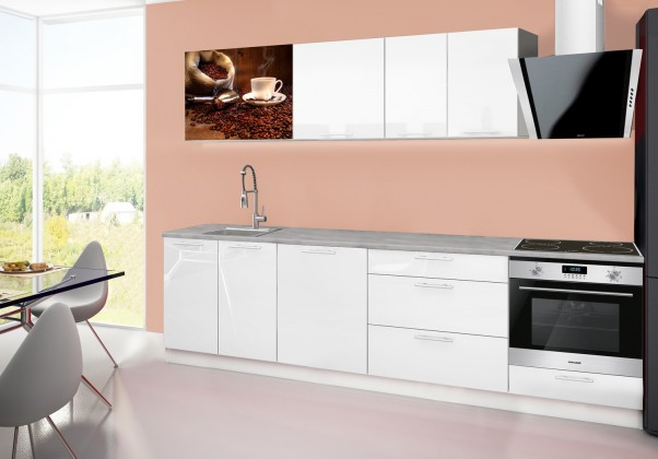 Rovná Emilia 2 - Kuchyňský blok B, 280cm (bílá, titan, káva)