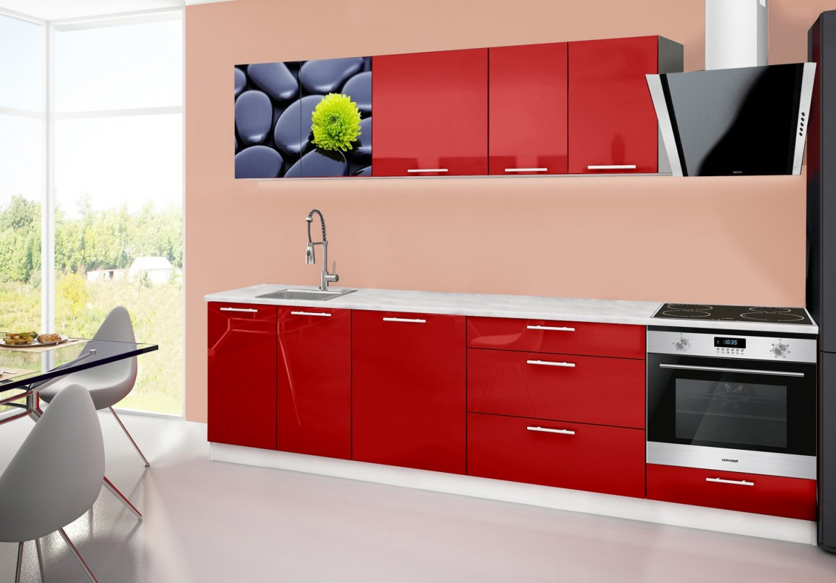 Rovná Emilia 2 - Kuchyňský blok B, 280cm (červená, mramor, kameny)