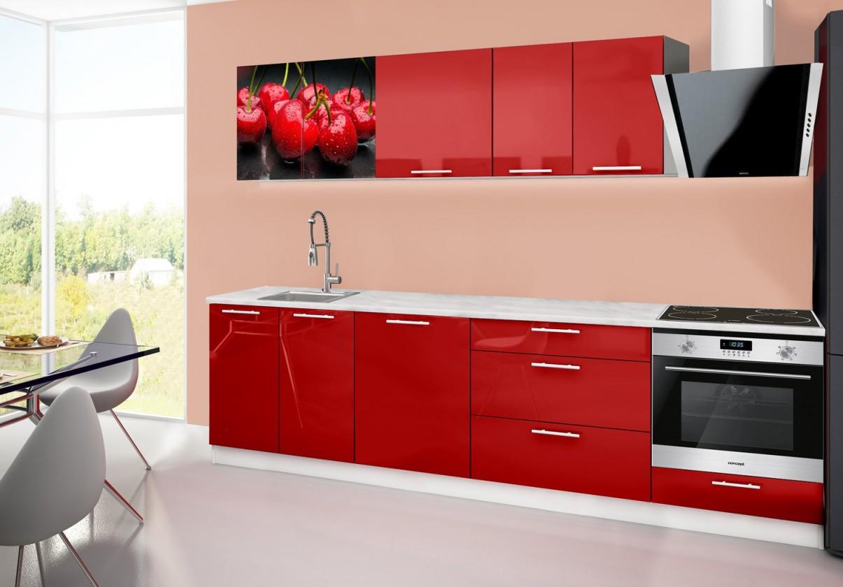 Rovná Emilia 2 - Kuchyňský blok B, 280cm (červená, mramor, třešně)