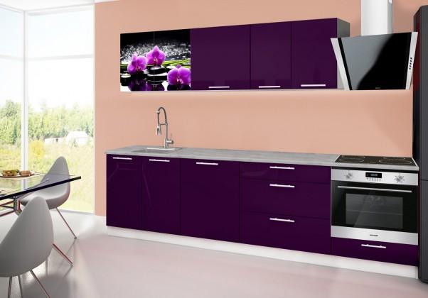 Rovná Emilia 2 - Kuchyňský blok B, 280cm (fialová, titan, orchidej)