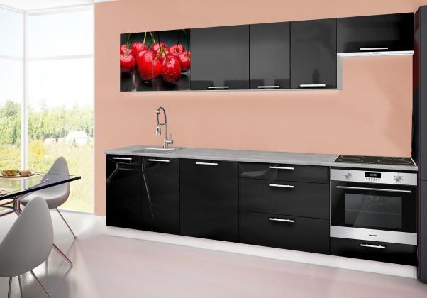 Rovná Emilia 2 - kuchyňský blok D 280 cm (černá, pracovní deska - titan)