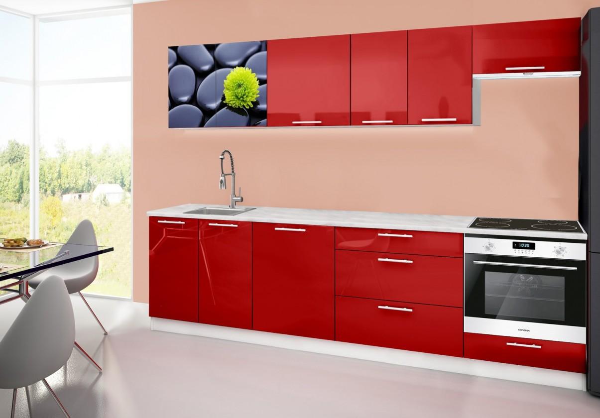 Rovná Emilia 2 - Kuchyňský blok D, 280cm (červená, mramor, kameny)
