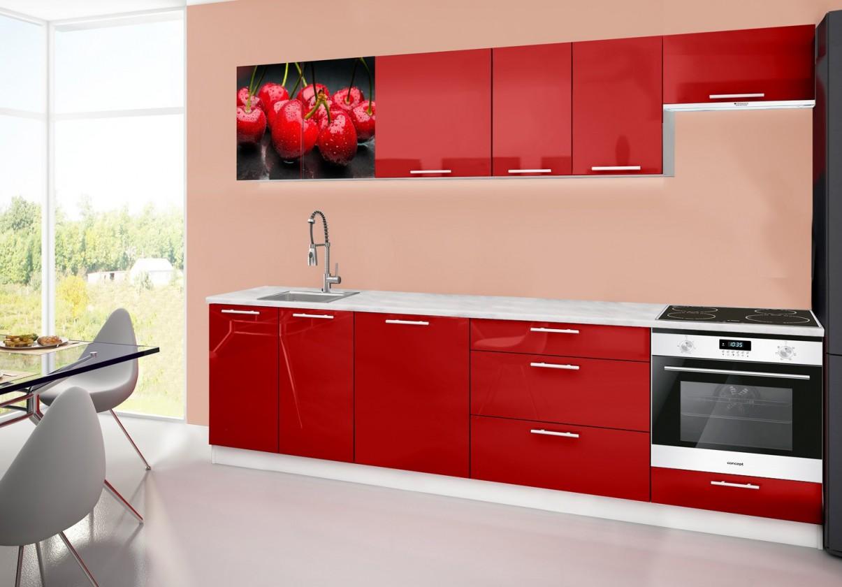 Rovná Emilia 2 - Kuchyňský blok D, 280cm (červená, mramor, třešně)