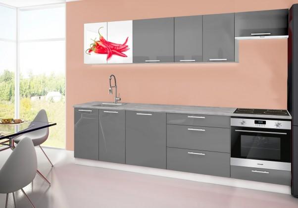 Rovná Emilia 2 - Kuchyňský blok D, 280cm (šedá, titan, chilli)