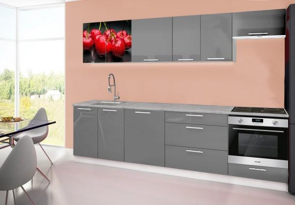 Rovná Emilia 2 - Kuchyňský blok D, 280cm (šedá, titan, třešně)