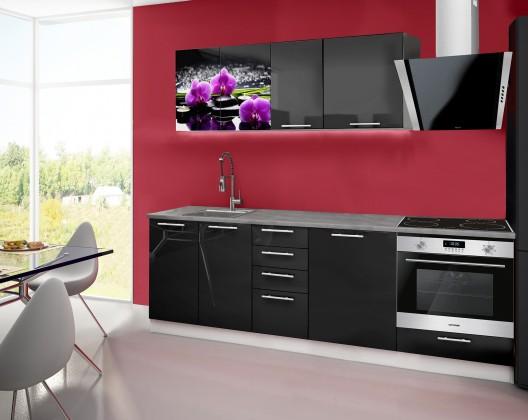 Rovná Emilia 2 - kuchyňský blok E 240 cm (černá, pracovní deska - titan)