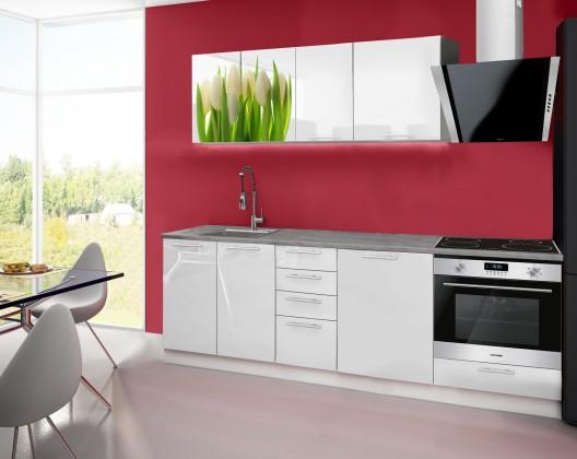 Rovná Emilia 2 - Kuchyňský blok E, 240cm (bílá, titan, tulipány)