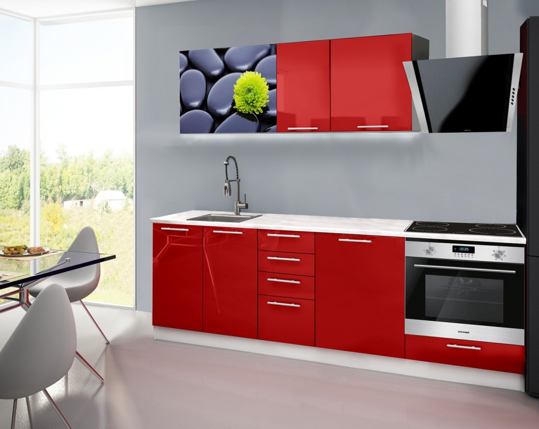 Rovná Emilia 2 - Kuchyňský blok E, 240cm (červená, mramor, kameny)