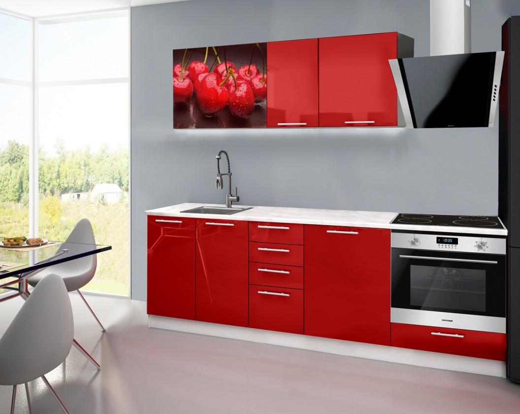 Rovná Emilia 2 - Kuchyňský blok E, 240cm (červená, mramor, třešně)