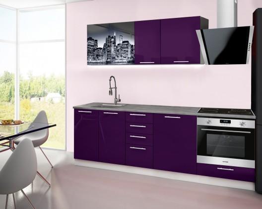 Rovná Emilia 2 - Kuchyňský blok E, 240cm (fialová, titan, NewYork)