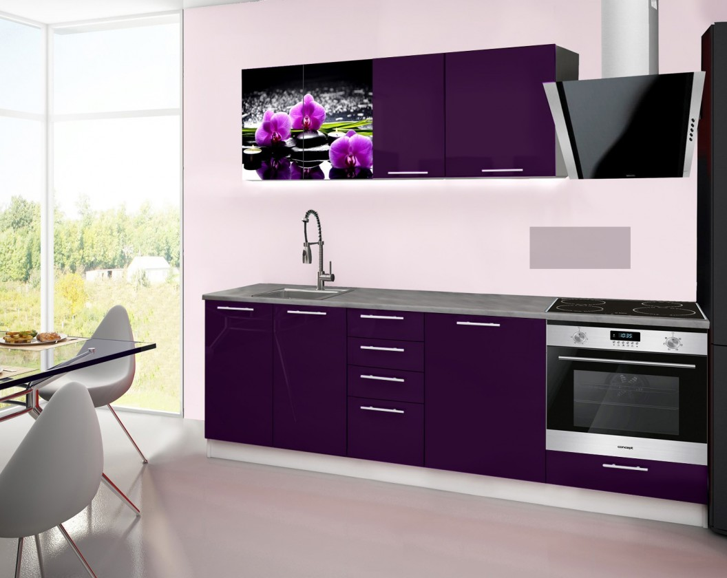 Rovná Emilia 2 - Kuchyňský blok E, 240cm (fialová, titan, orchidej)