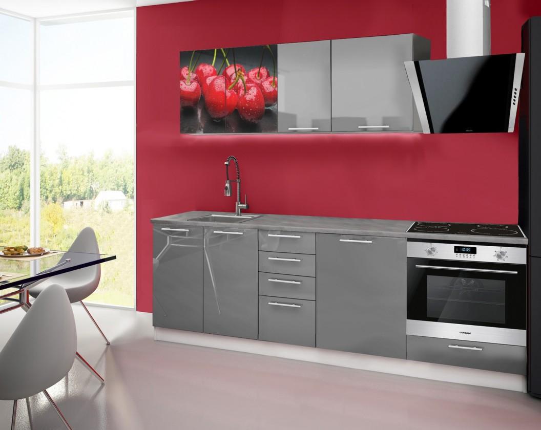 Rovná Emilia 2 - Kuchyňský blok E, 240cm (šedá, titan, třešně)