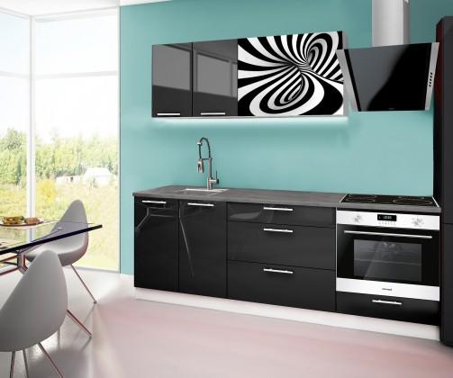 Rovná Emilia 2 - kuchyňský blok F 220 cm (černá, pracovní deska - titan)