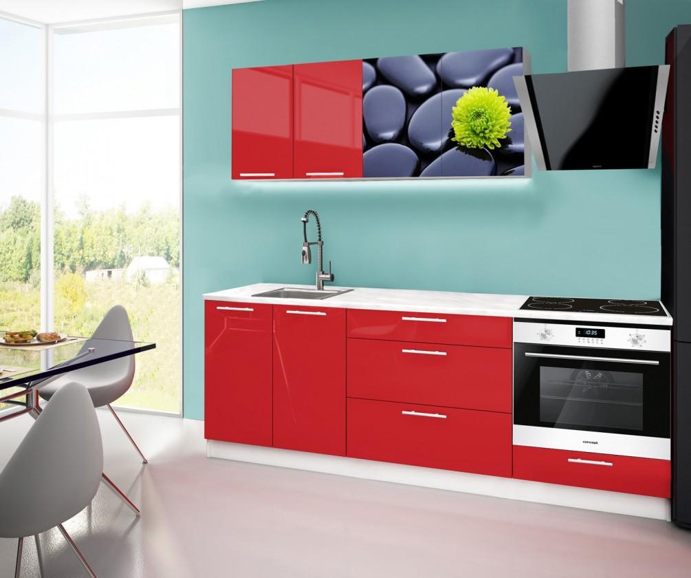 Rovná Emilia 2 - Kuchyňský blok F, 220cm (červená, mramor, kameny)