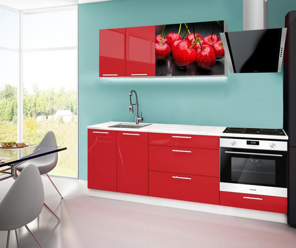 Rovná Emilia 2 - Kuchyňský blok F, 220cm (červená, mramor, třešně)