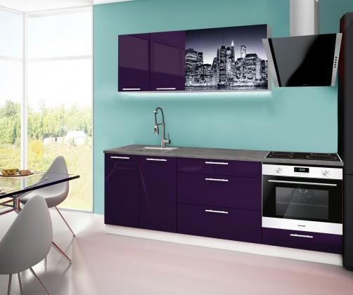 Rovná Emilia 2 - Kuchyňský blok F, 220cm (fialová, titan, NewYork)