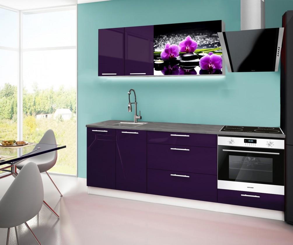 Rovná Emilia 2 - Kuchyňský blok F, 220cm (fialová, titan, orchidej)
