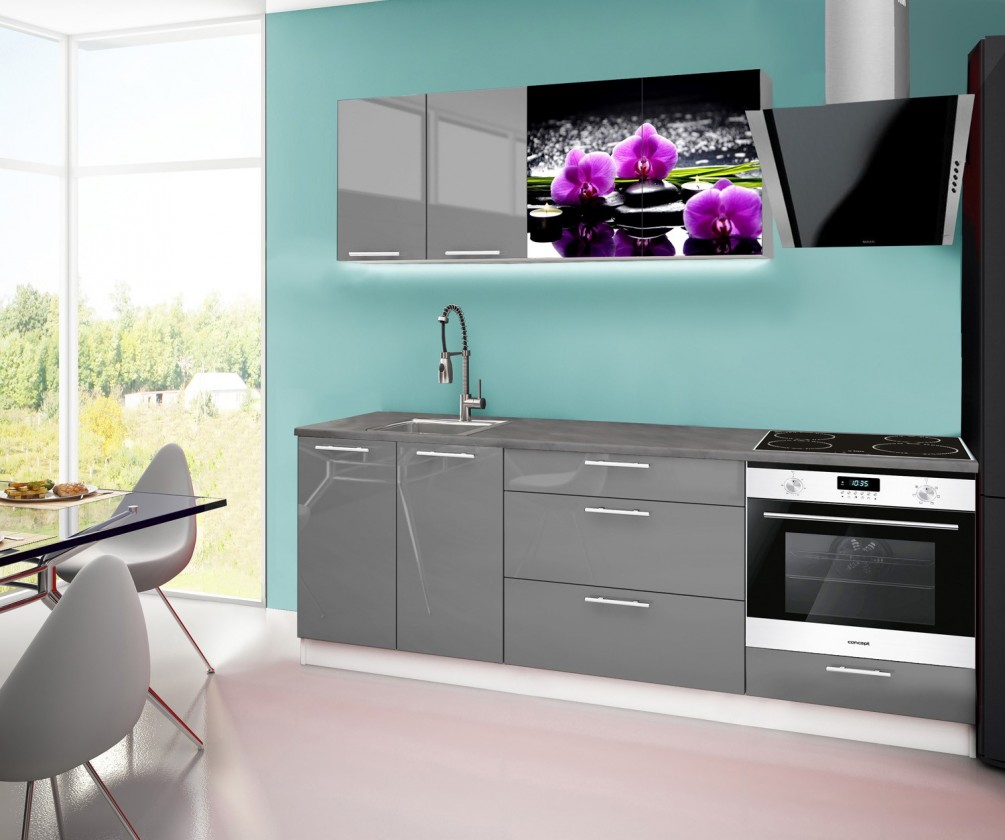 Rovná Emilia 2 - Kuchyňský blok F, 220cm (šedá, titan, orchidej)