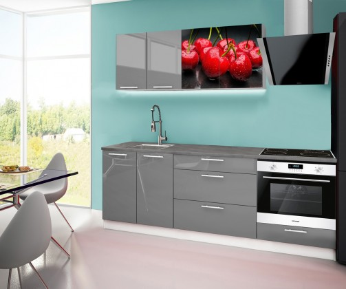Rovná Emilia 2 - Kuchyňský blok F, 220cm (šedá, titan, třešně)