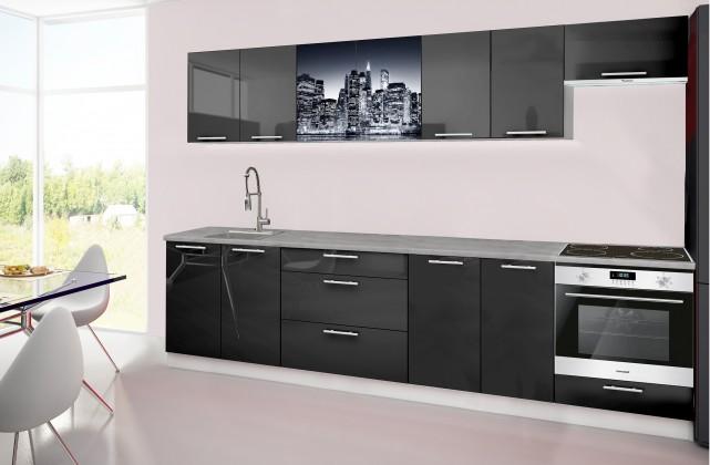 Rovná Emilia 2 - kuchyňský blok H 300 cm (černá, pracovní deska - titan)