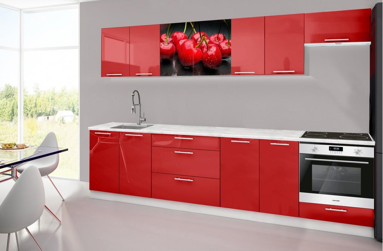 Rovná Emilia 2 - Kuchyňský blok H, 300cm (červená, mramor, třešně)