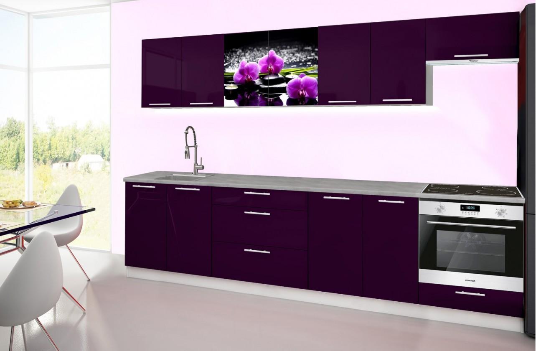 Rovná Emilia 2 - Kuchyňský blok H, 300cm (fialová, titan, orchidej)