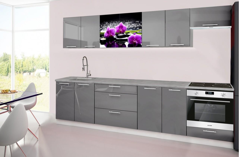 Rovná Emilia 2 - Kuchyňský blok H, 300cm (šedá, titan, orchidej)