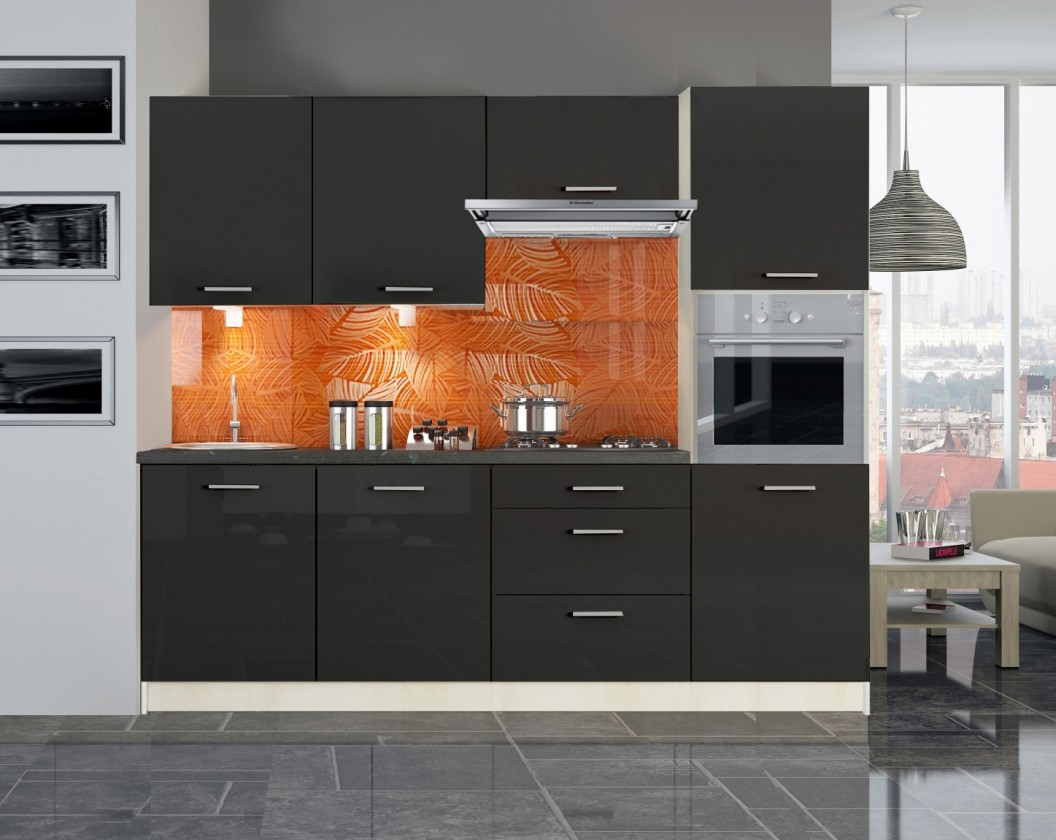 Rovná Emilia - Kuchyňský blok 240 cm (černá lesk)