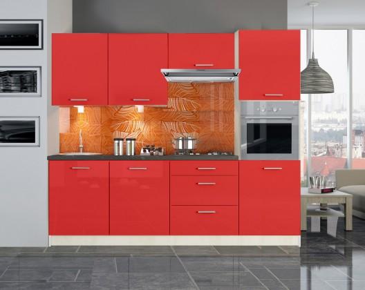 Rovná Emilia - Kuchyňský blok 240 cm (červená lesk)