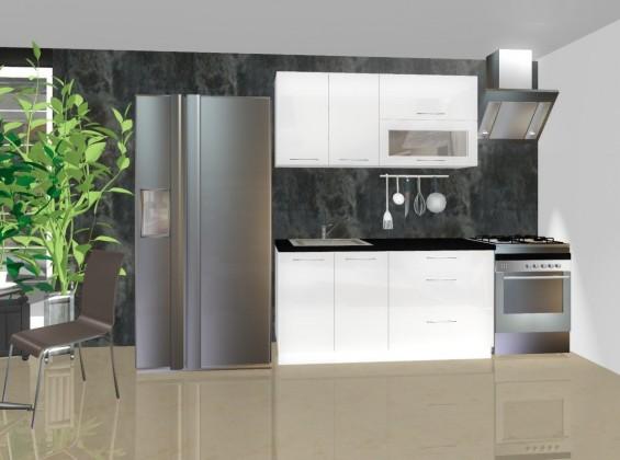 Rovná Emilia - Kuchyňský blok A, 1,6 m (bílá lesk)
