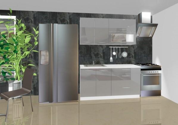 Rovná Emilia - Kuchyňský blok A, 1,6 m (šedá lesk)