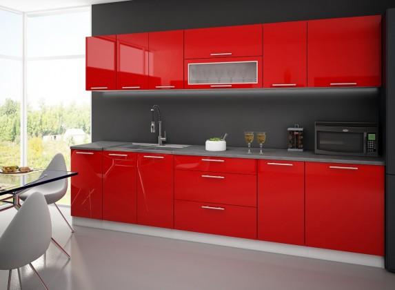 Rovná Emilia - Kuchyňský blok A, 300 cm (červená, travertin světlý)