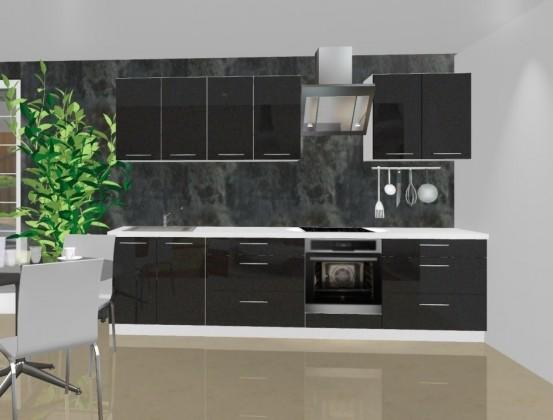 Rovná Emilia - Kuchyňský blok A pro vest. troubu, 3 m (černá lesk)