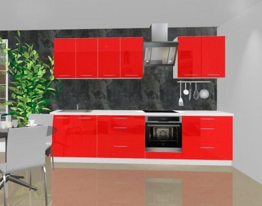 Rovná Emilia - Kuchyňský blok A pro vest. troubu, 3 m (červená lesk)