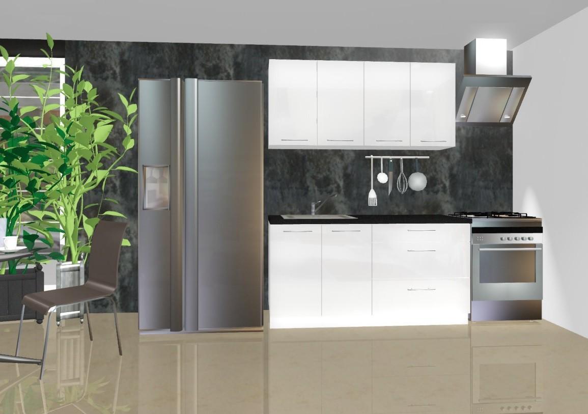Rovná Emilia - Kuchyňský blok B, 1,6 m (bílá lesk)