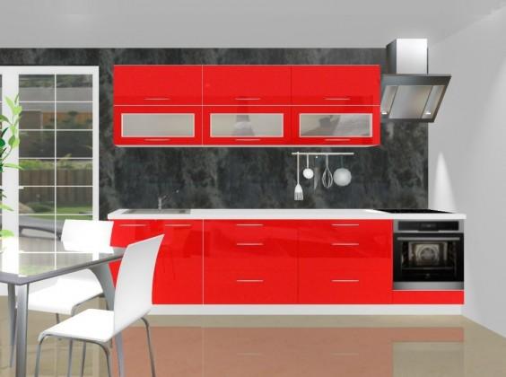 Rovná Emilia - Kuchyňský blok B pro vest. troubu, 3 m (červená lesk)