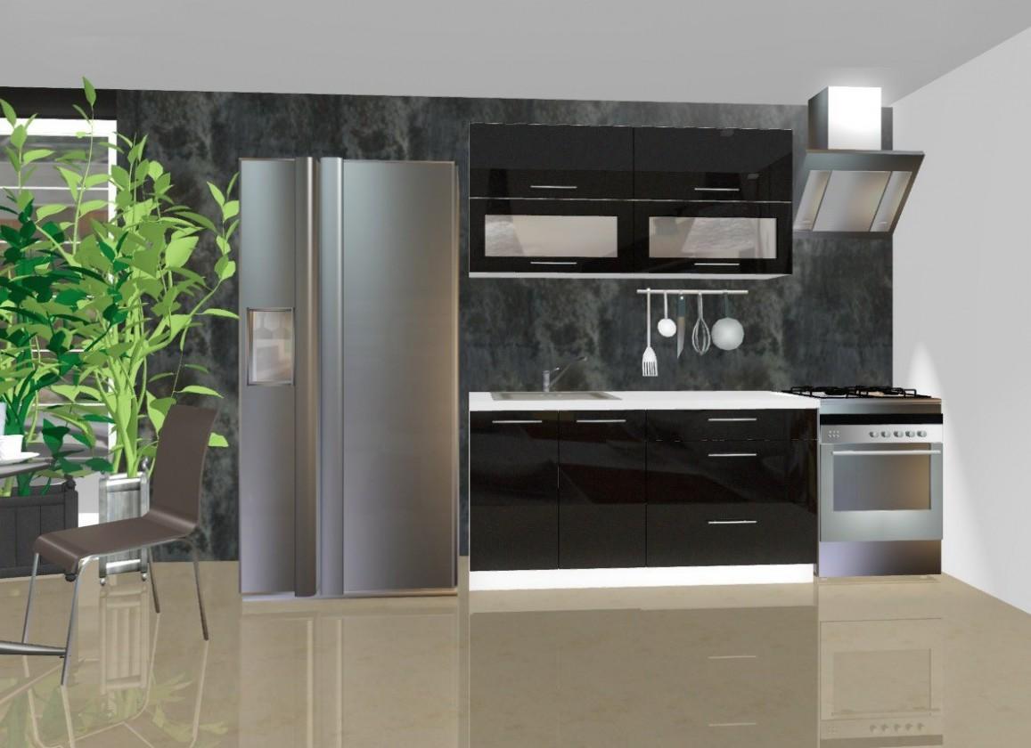 Rovná Emilia - Kuchyňský blok C, 1,6 m (černá lesk)