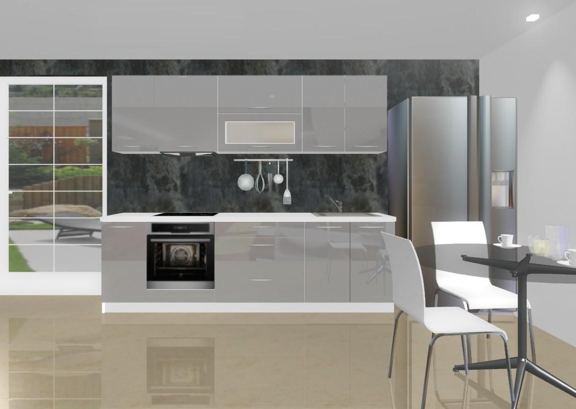 Rovná Emilia - Kuchyňský blok D pro vest. troubu, 2,6 m (šedá lesk)
