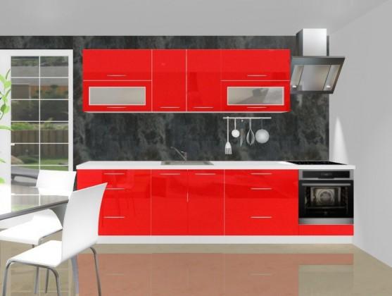 Rovná Emilia - Kuchyňský blok D pro vest. troubu, 3 m (červená lesk)