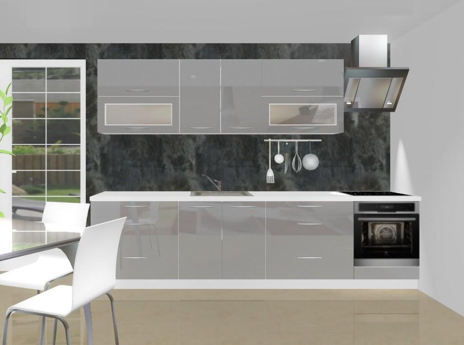 Rovná Emilia - Kuchyňský blok D pro vest. troubu, 3 m (šedá lesk)