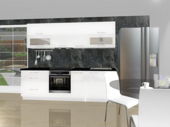 Rovná Emilia - Kuchyňský blok E pro vest. troubu, 2,6 m (bílá lesk)