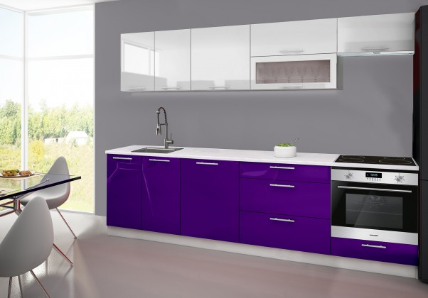 Rovná Emilia - Kuchyňský blok F, 280 cm (bílo-fialová, PD bílá)