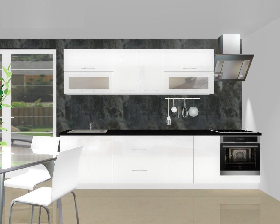 Rovná Emilia - Kuchyňský blok F pro vest. troubu, 3 m (bílá lesk)